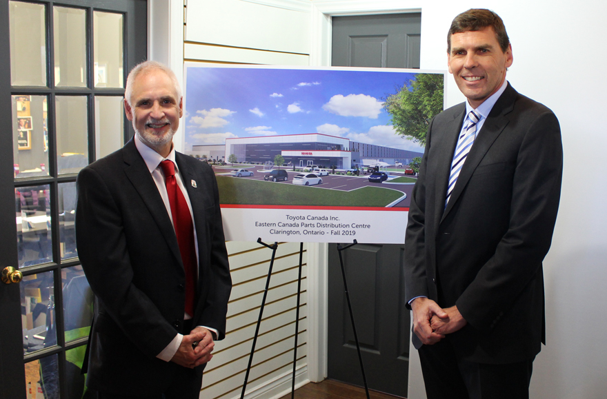 Clarington Mayor Adrian Foster with Larry Hutchinson, President and CEO of Toyota Canada Inc.