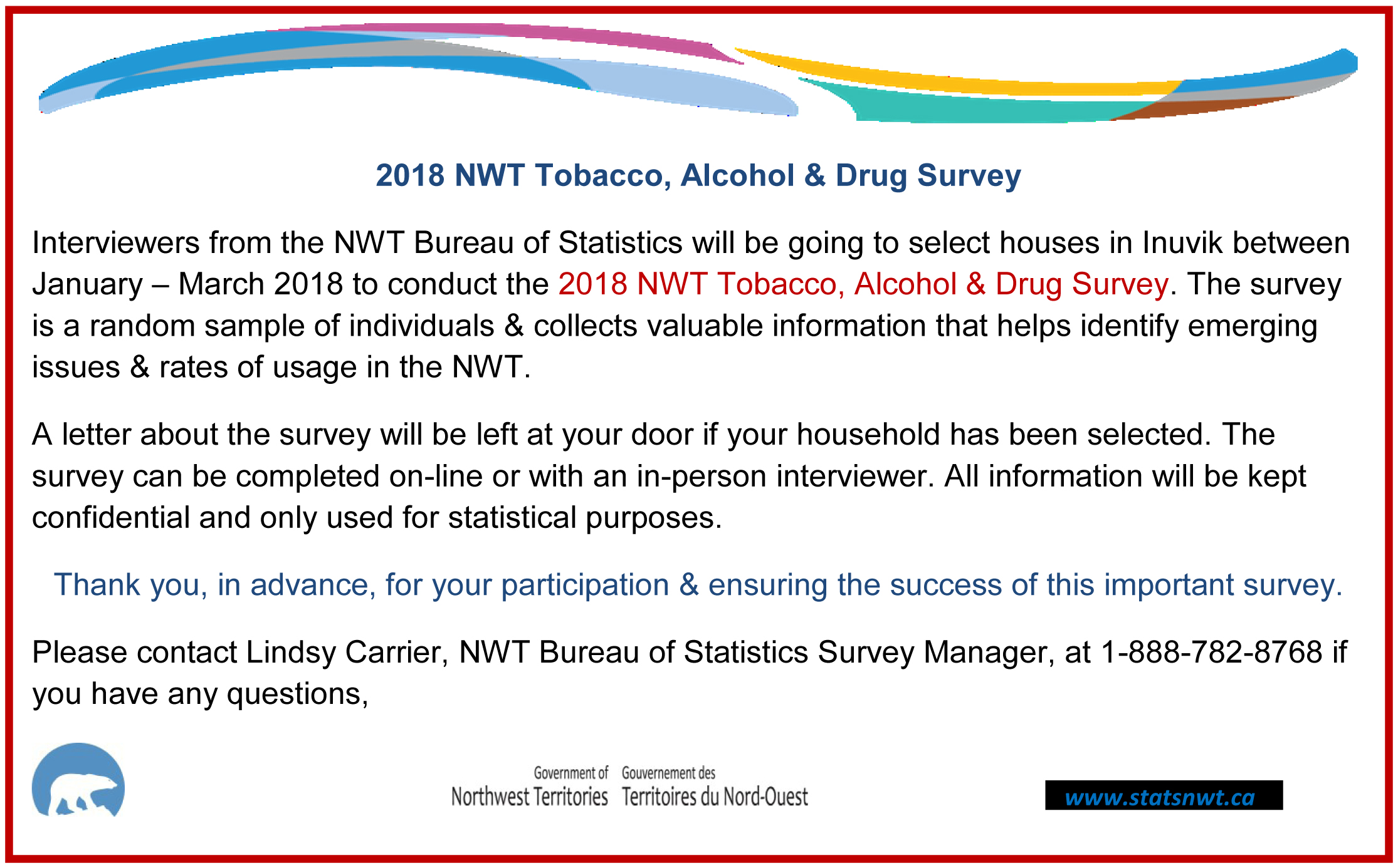2018 NWT Tobacco, Alcohol & Drug Survey