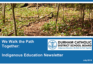 We Walk the Path Together Indigenous Education Newsletter and path in the forest with broken tree