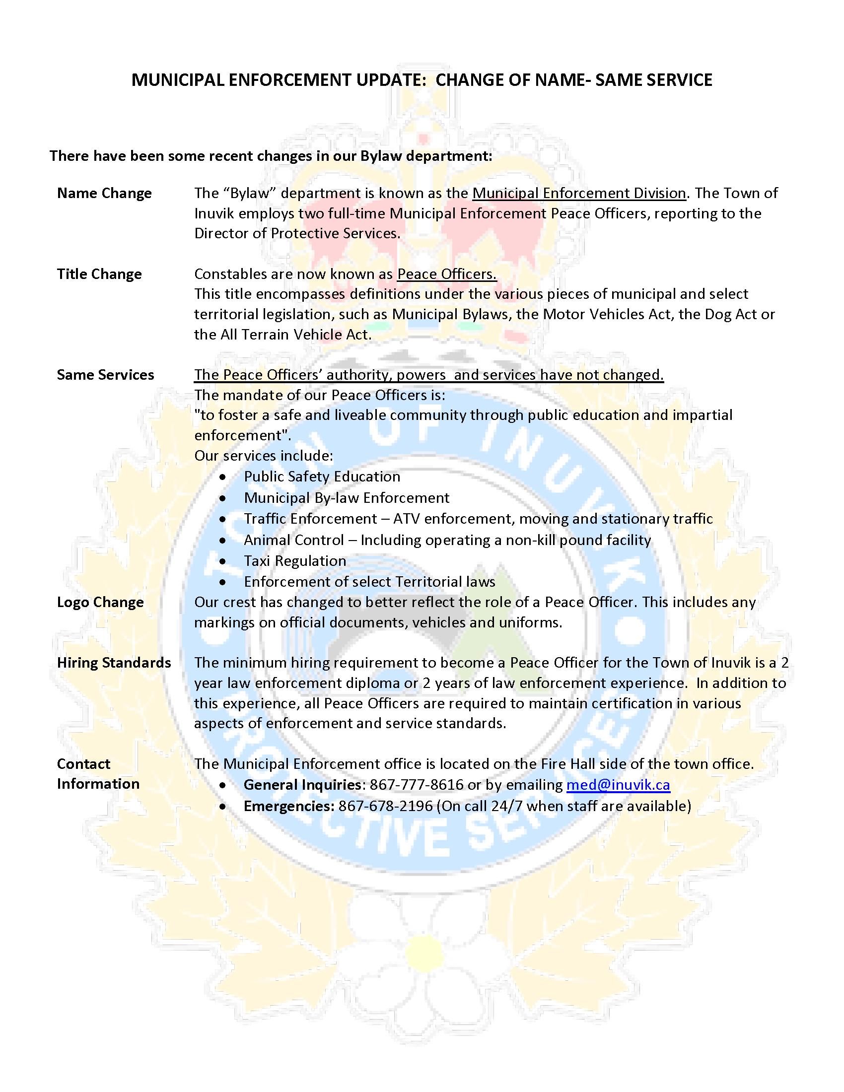 Public Announcement - Peace Officer
