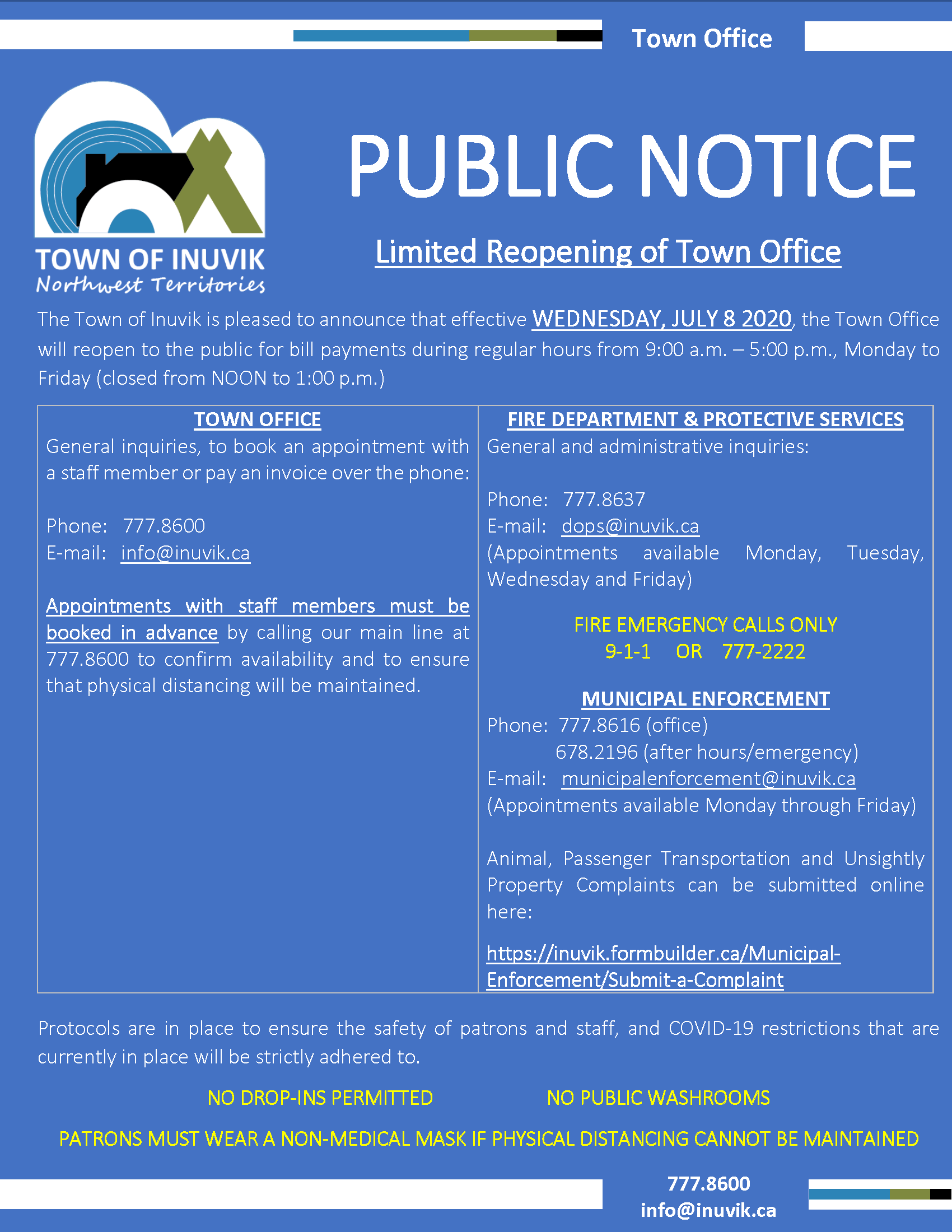 Town Office & Protective Services Reopening Notice