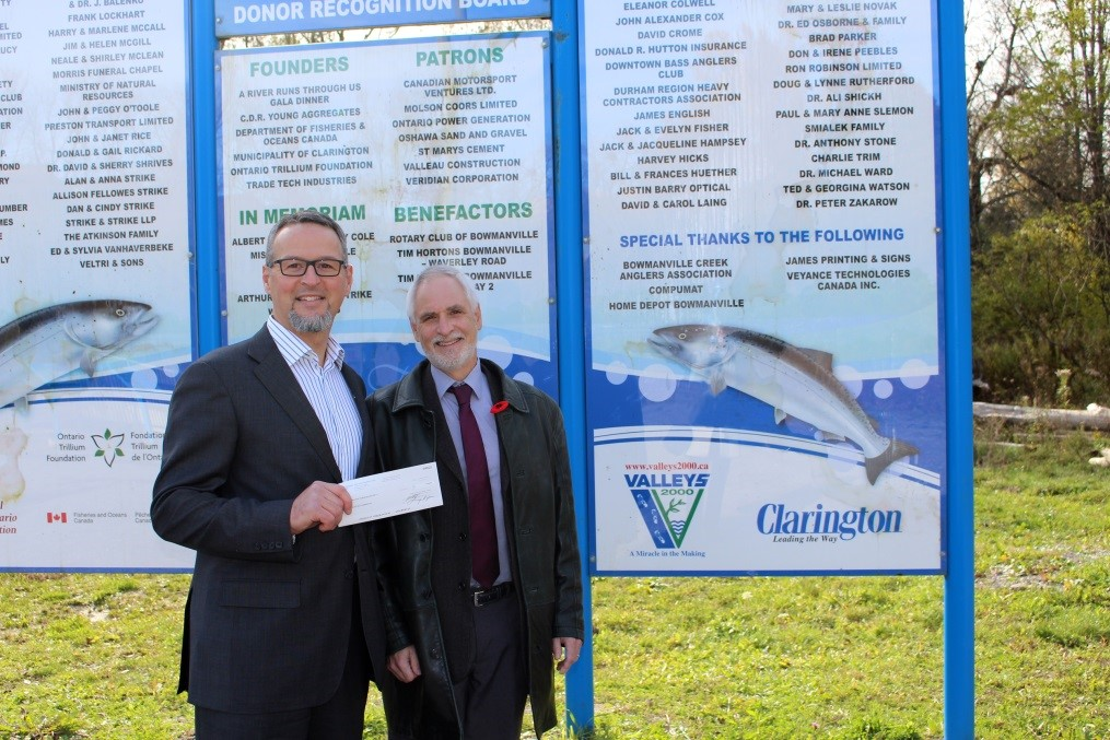 In photo (from left to right): Viano Ciaglia, Frank Cowan Company;  Adrian Foster, Mayor, Municipality of Clarington