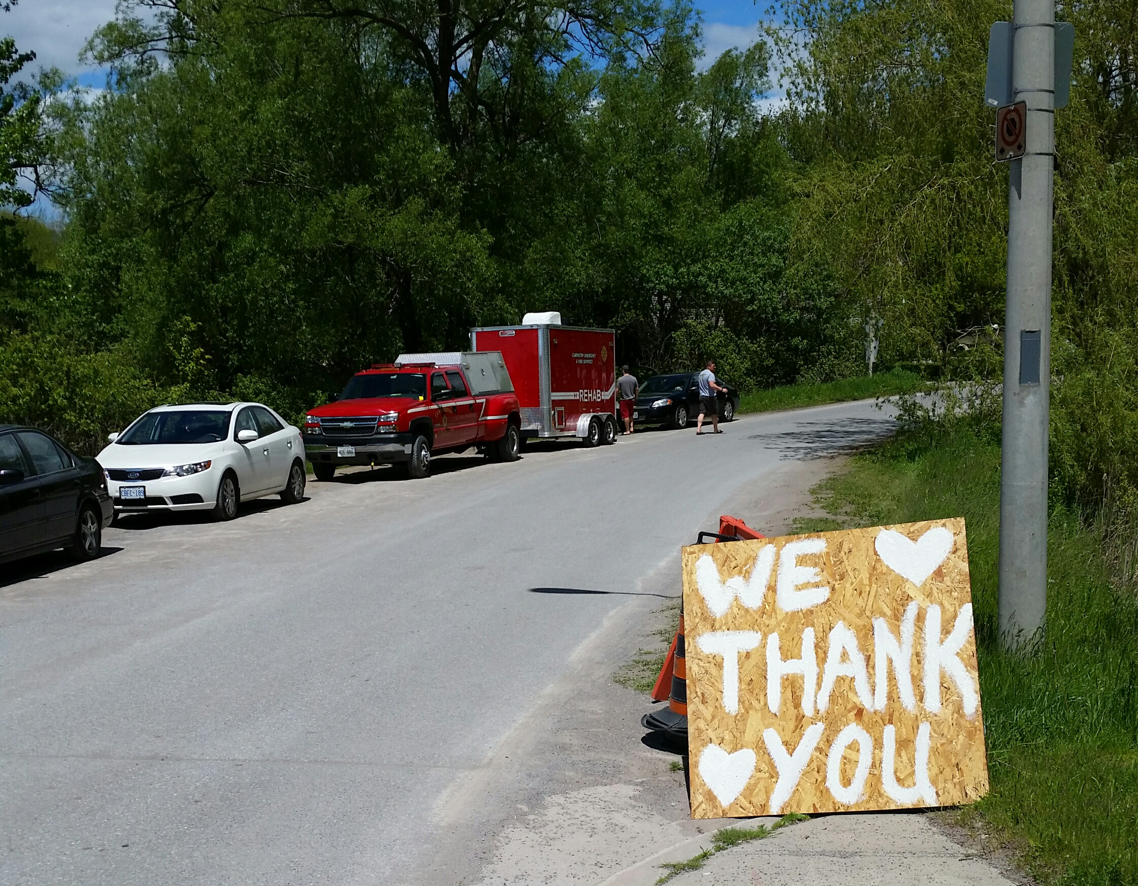 Local residents place thank you sign