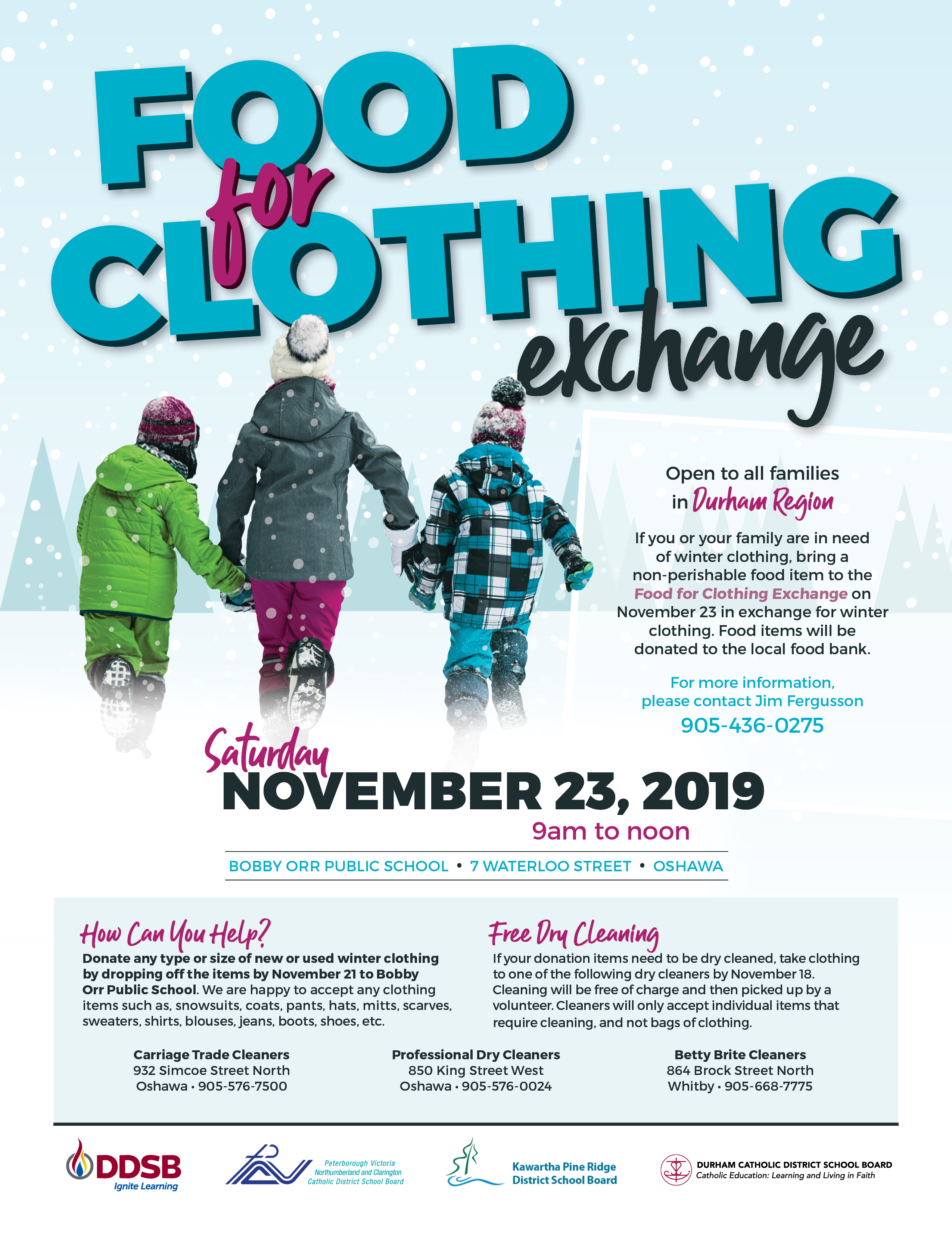 Food for clothing exchange flyer