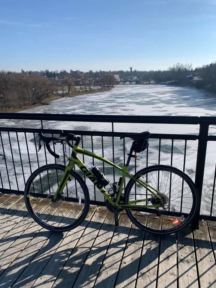 Bike on bridge in St. Marys