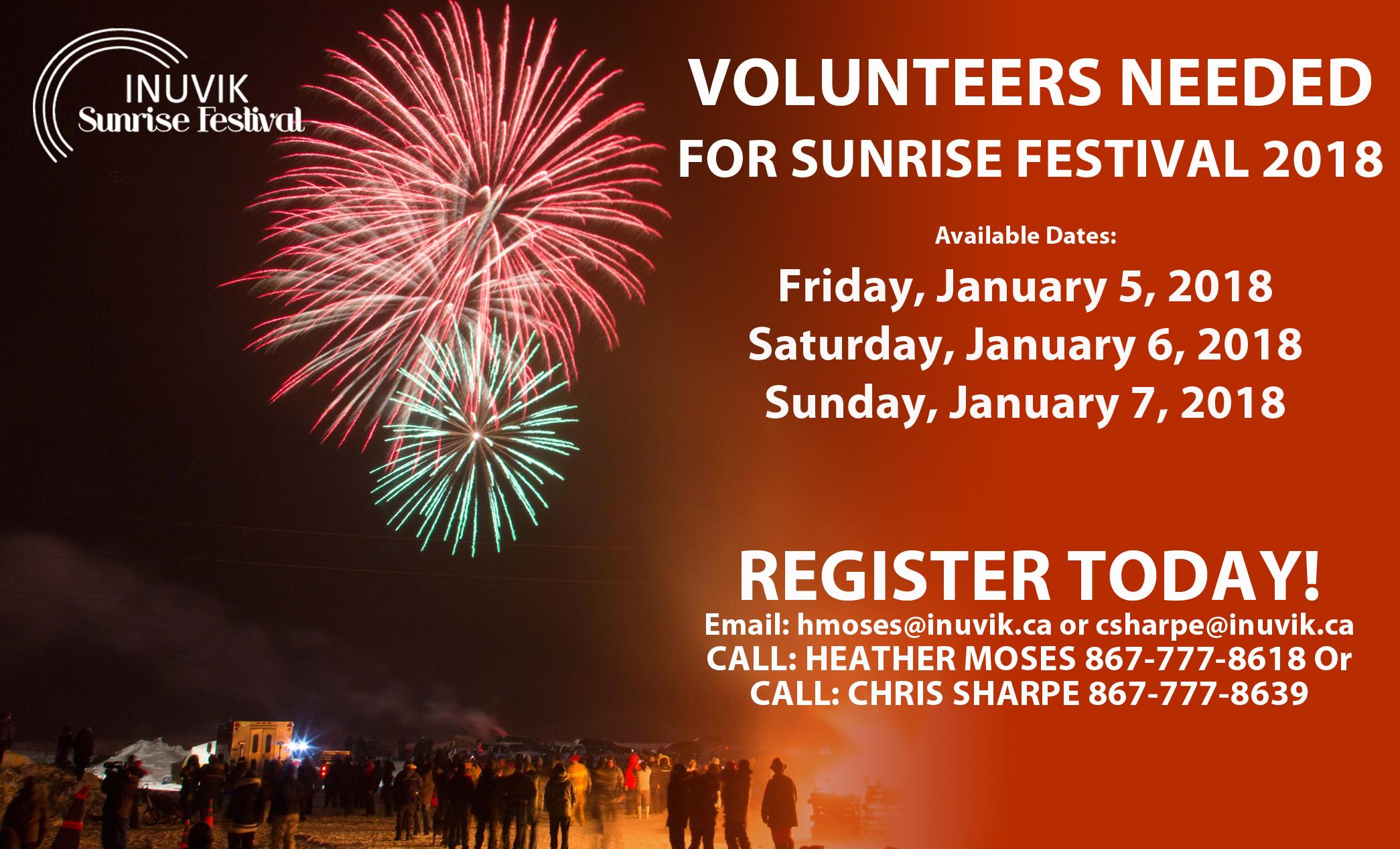VOLUNTEERS NEEDED FOR SUNRISE FESTIVAL 2018