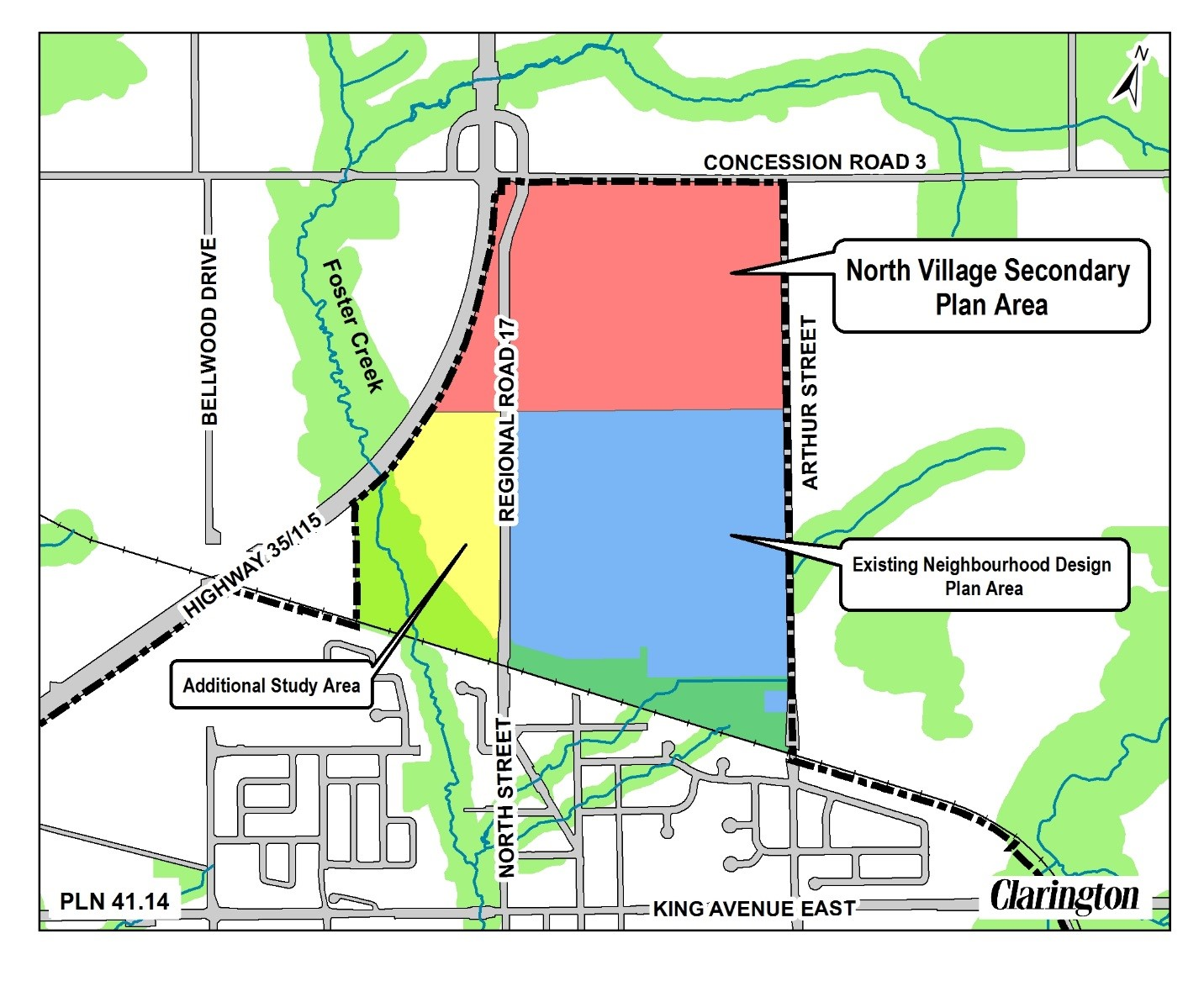 North Village Secondary Plan Subject Area Map