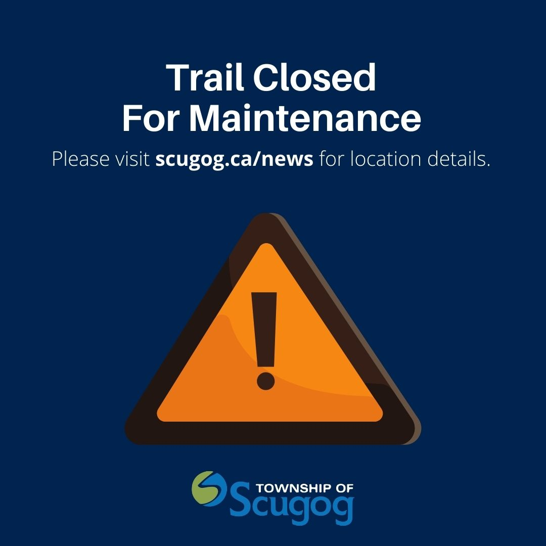 Trail closed graphic with construction symbol