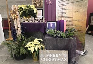 Advent wreath and prayer table