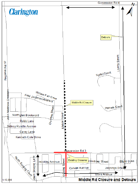 Middle Road Closure Detour Map