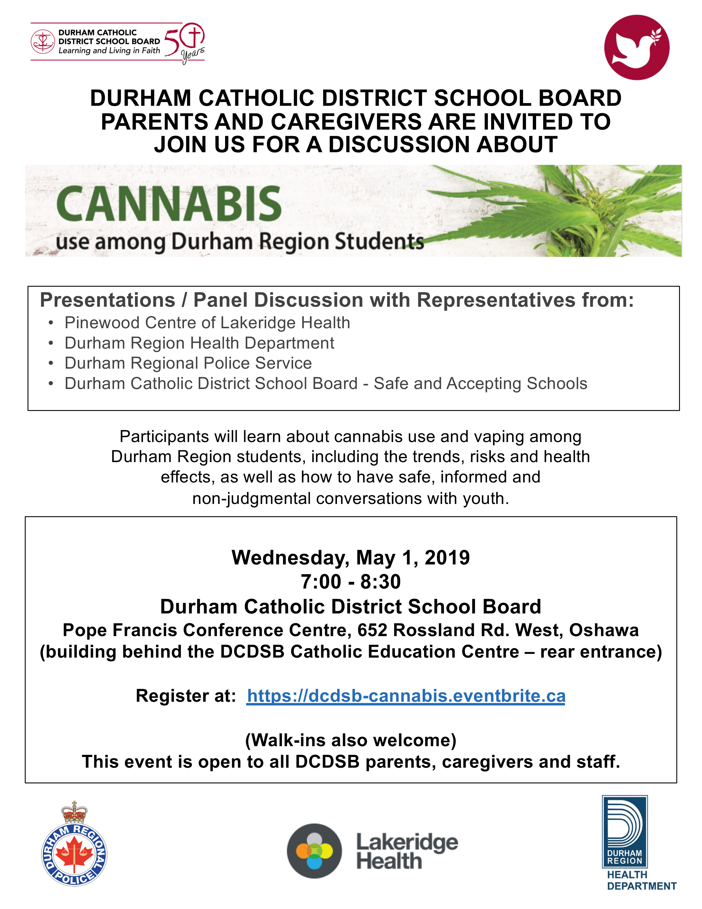 Flyer promoting presentation on Cannabis use among Durham Region students