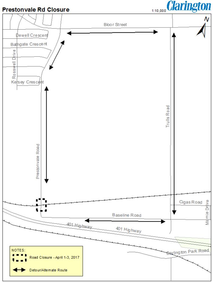 Map showing location of Prestonvale Road Closure