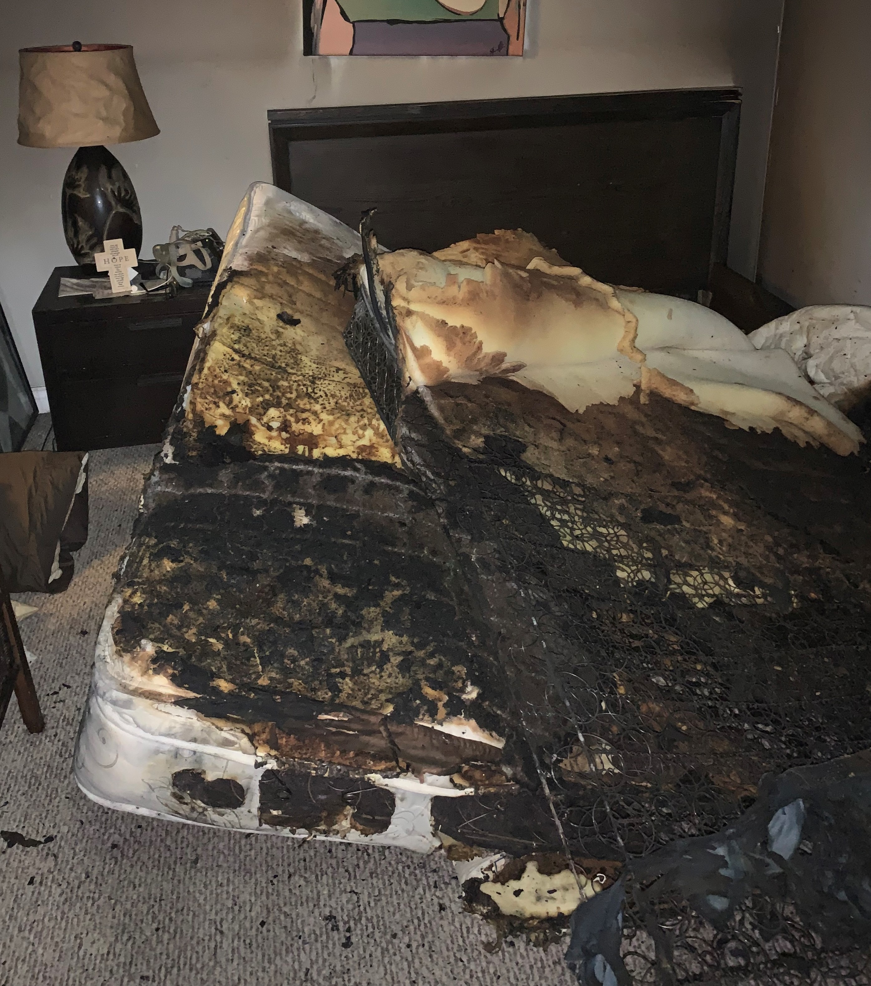 A burnt mattress at the scene of a fire in Courtice