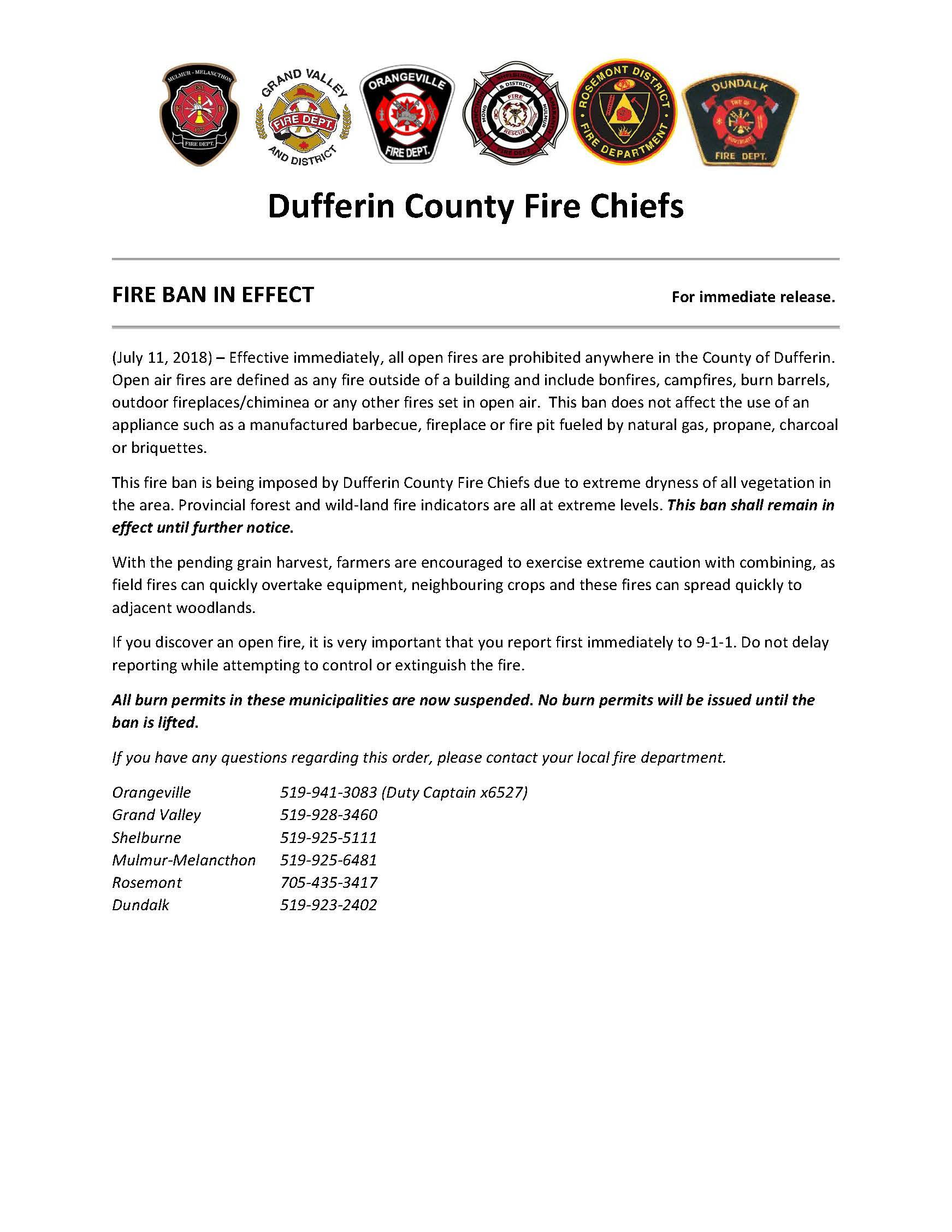 FIRE BAN IN EFFECT July 2018