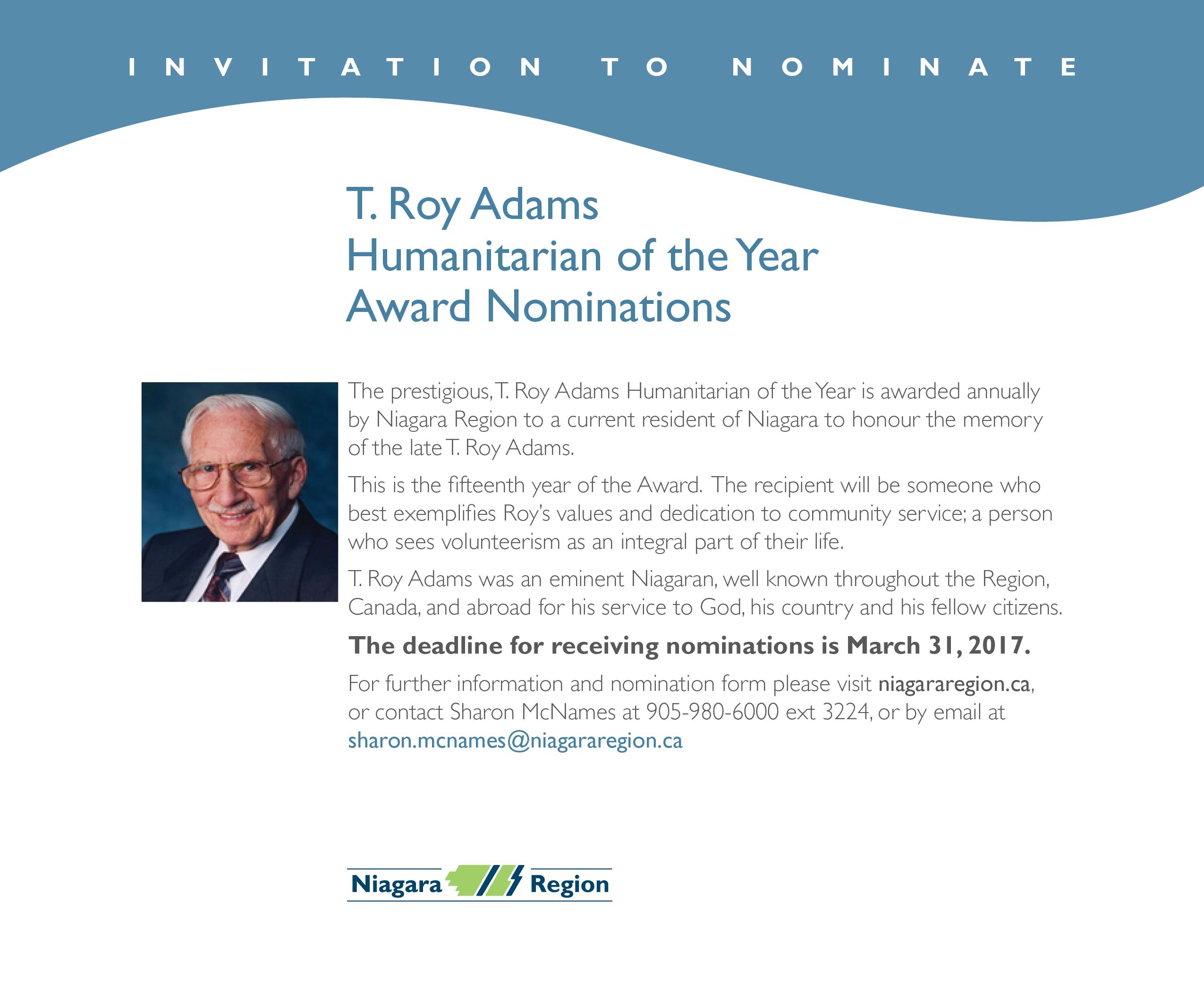 T. Roy Adams Humanitarian Award 2017
