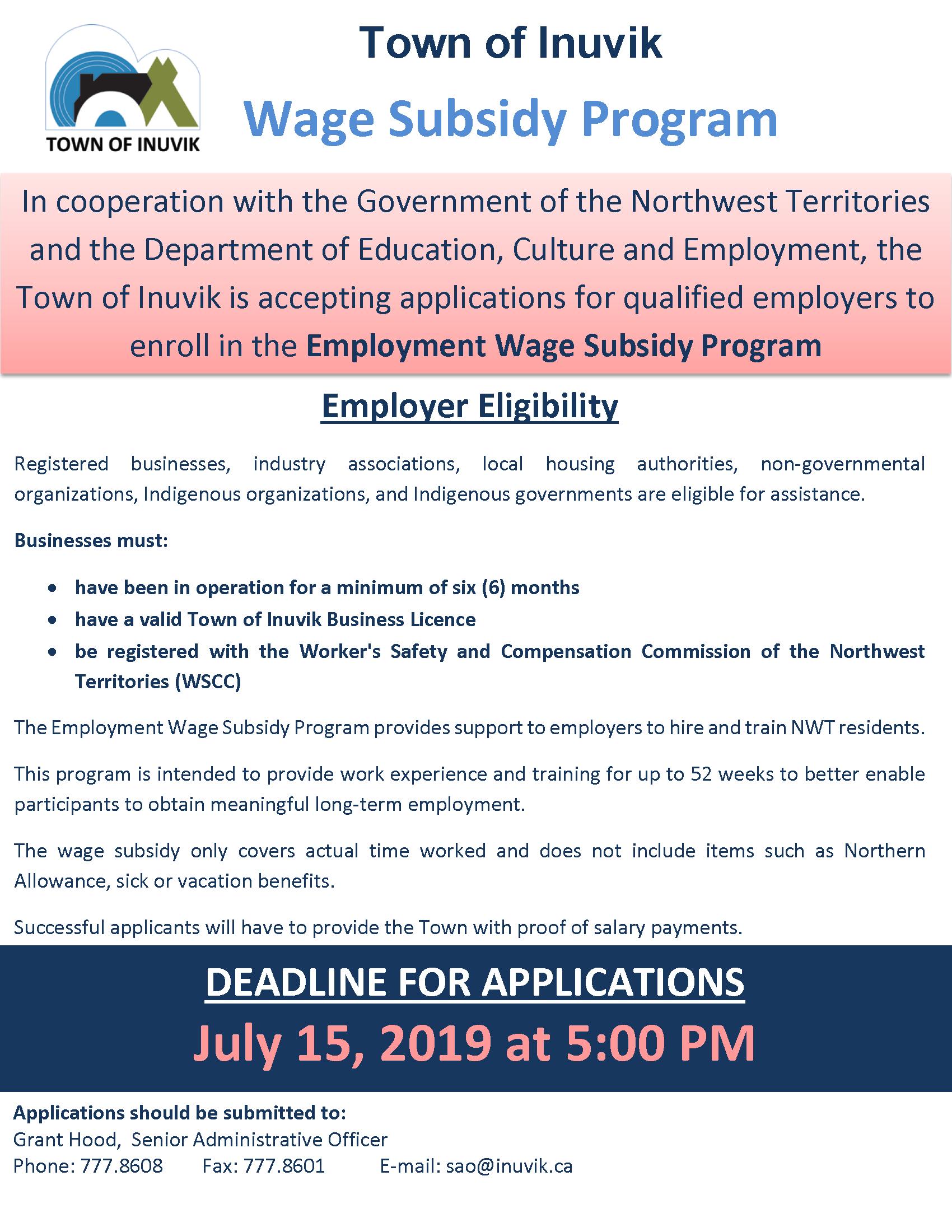 Wage Subsidy Program Information