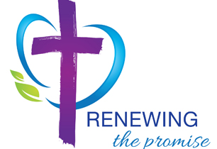 Cross and leaf logo wording says Renewing the Promise