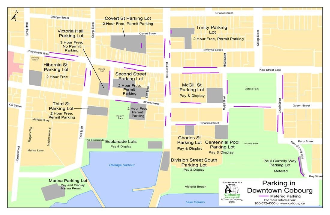 Map of available parking in Cobourg