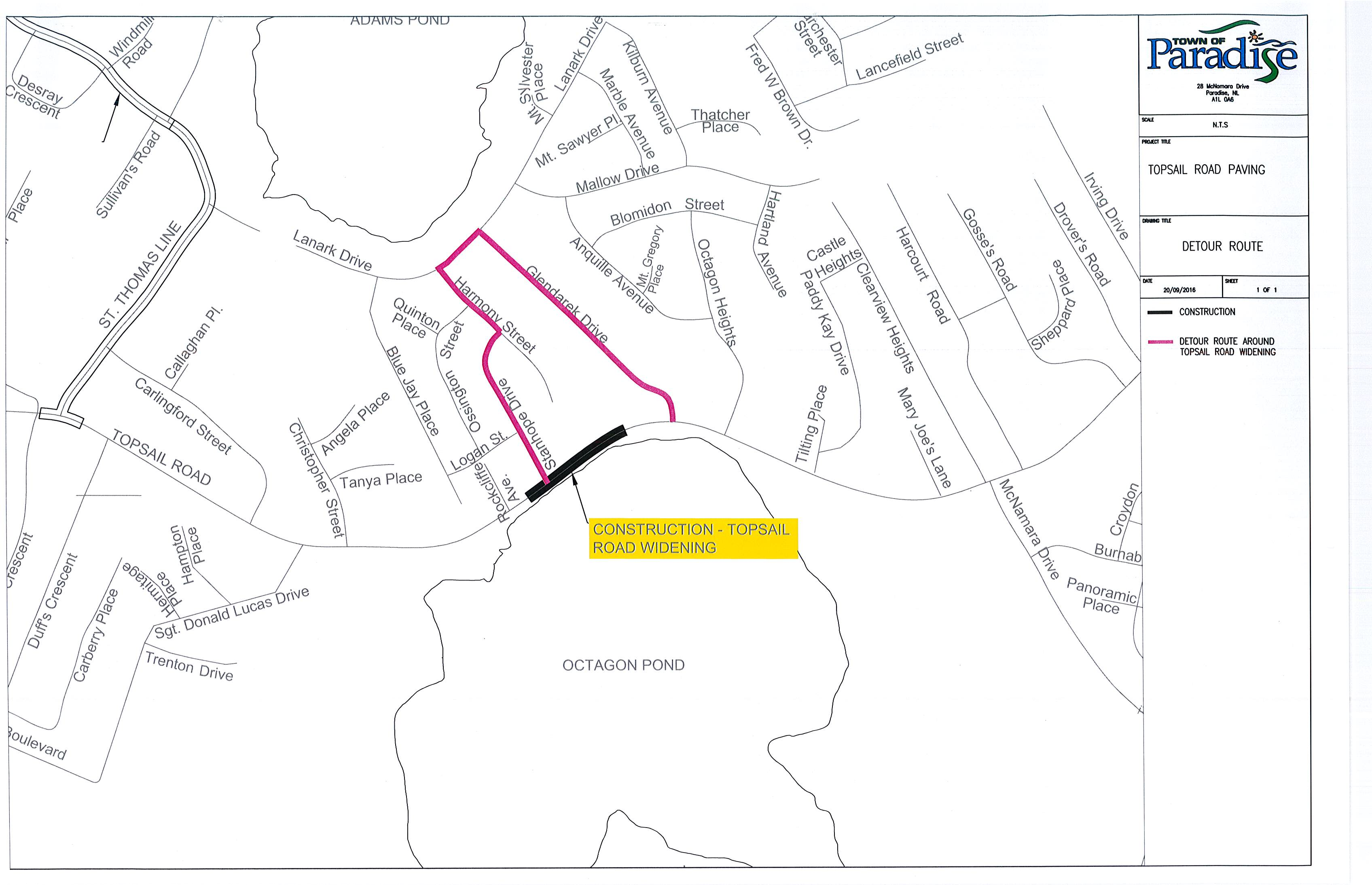 MAP_ Planned Detour on Topsail Road as Part of Paving Operations_September 20, 2016