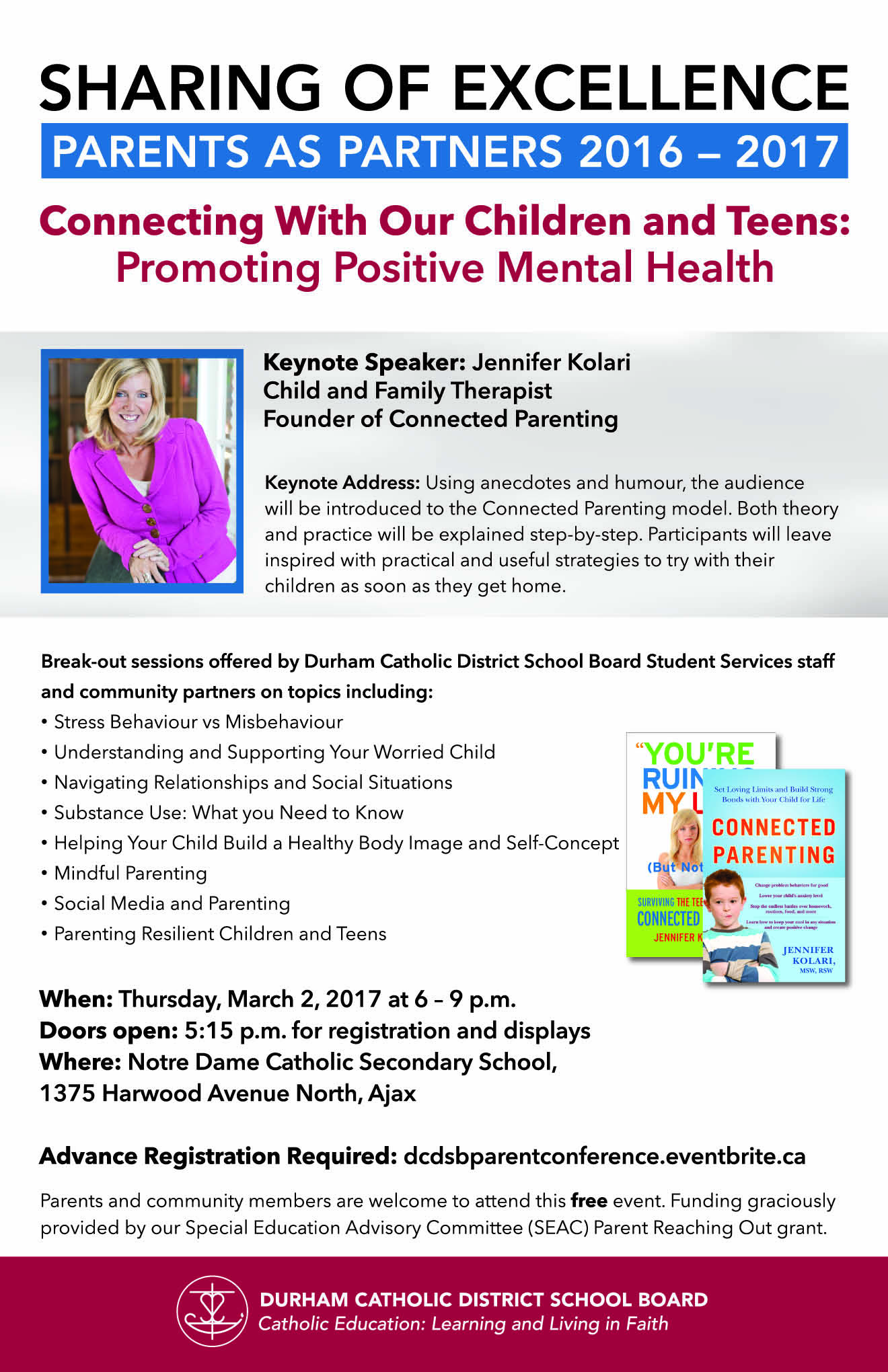 Flyer promoting the Sharing of Excellence, Parents as Partners 2016-2017 - Connecting with Our Children and Teens: Promoting Positive Mental Health