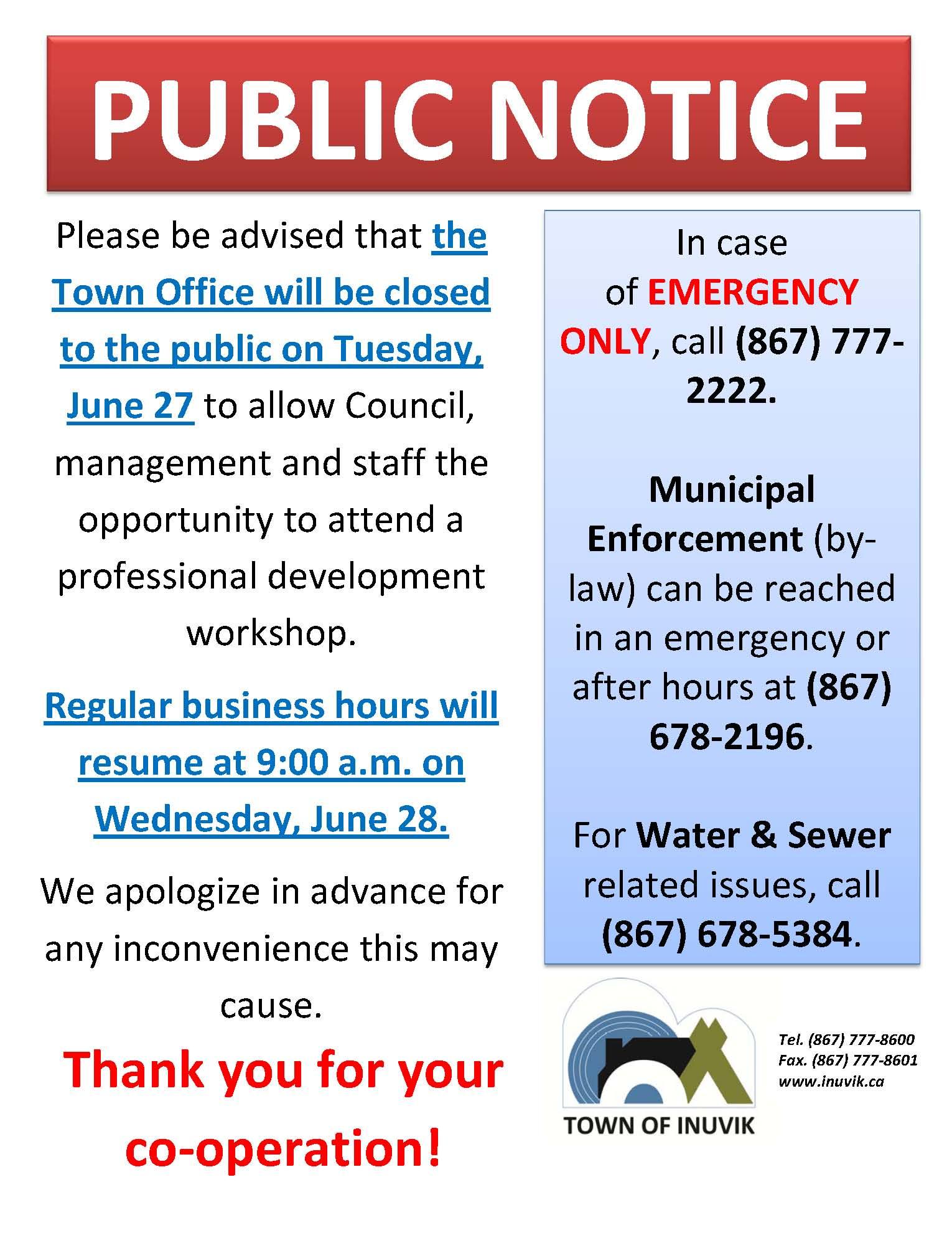 June 27 Town Office Closure