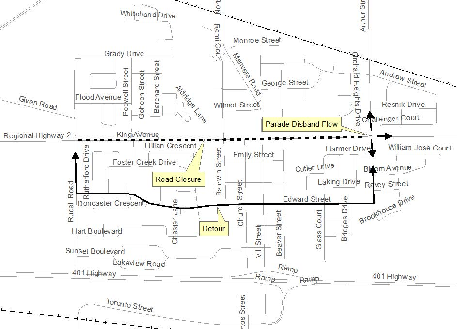 Map showing location of road closure