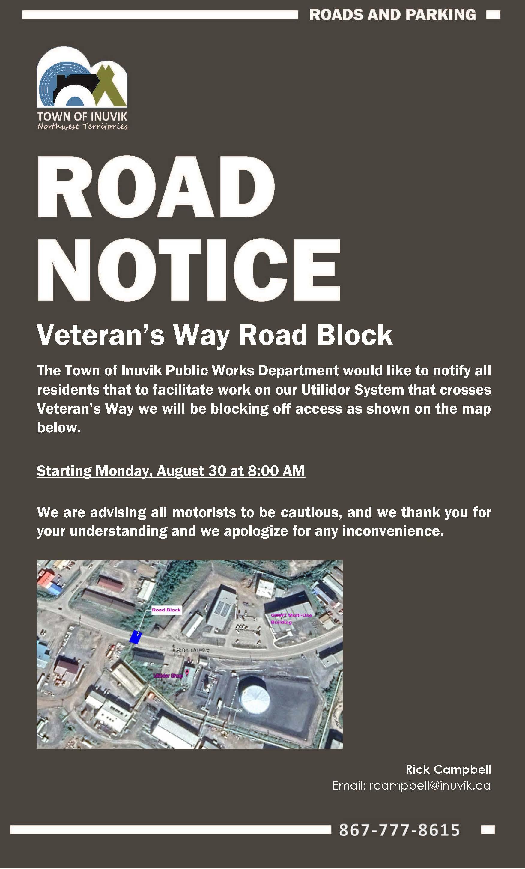 Town of Inuvik - Road Closure - Veterans Way