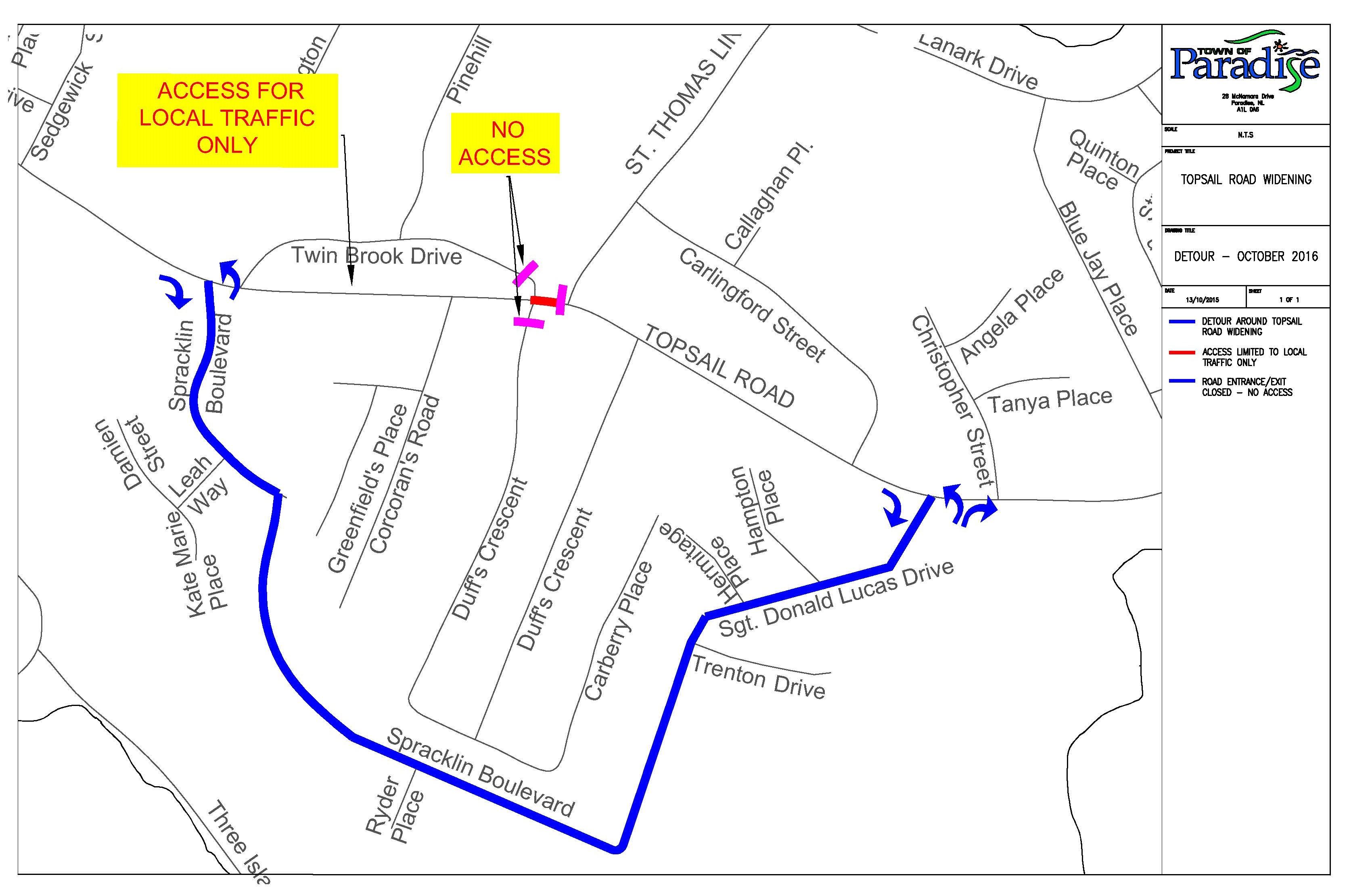 Topsail Road Detour Route