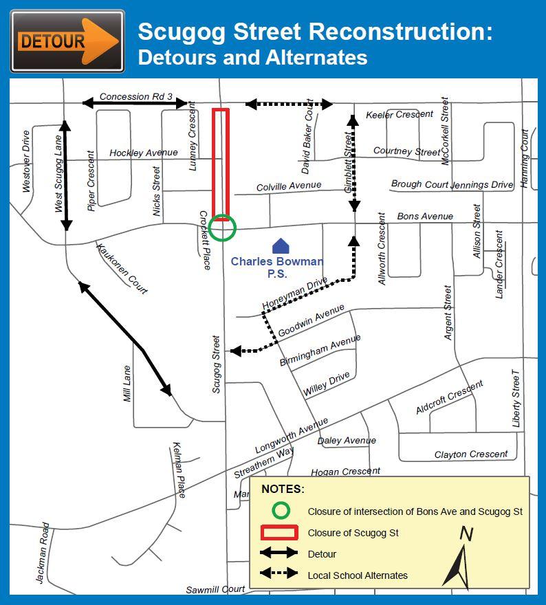 Scugog Street Reconstruction Detours and Alternates Map