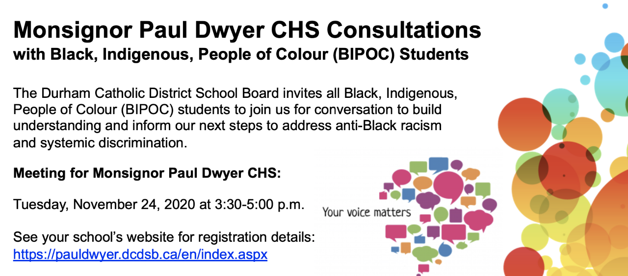 Msgr. Paul Dwyer CHS Consultations with Black, Indigenous, People of Colour (BIPOC) Students