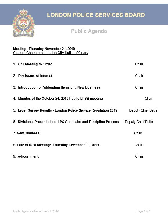 This is an image of the November 2019 Agenda