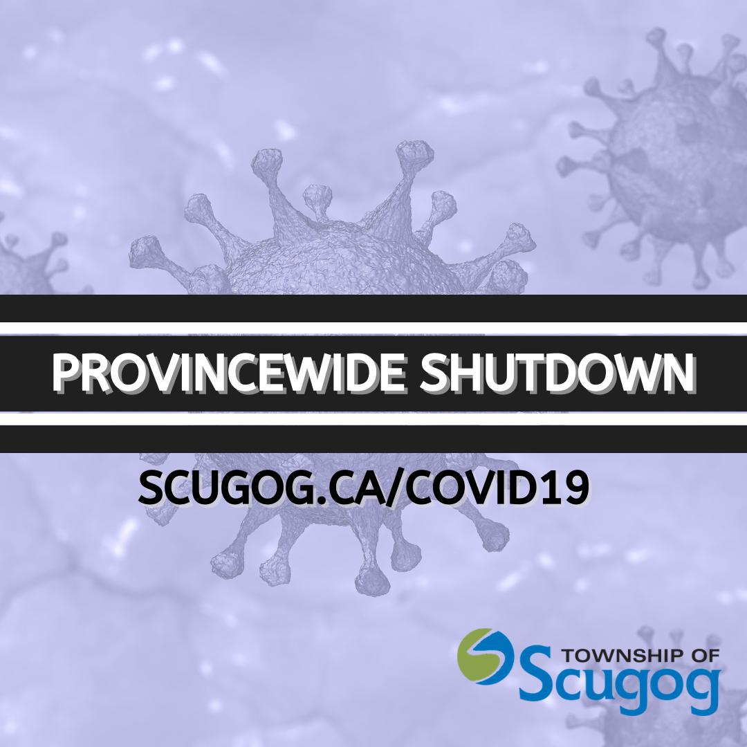 Provincewide Shutdown on purple background