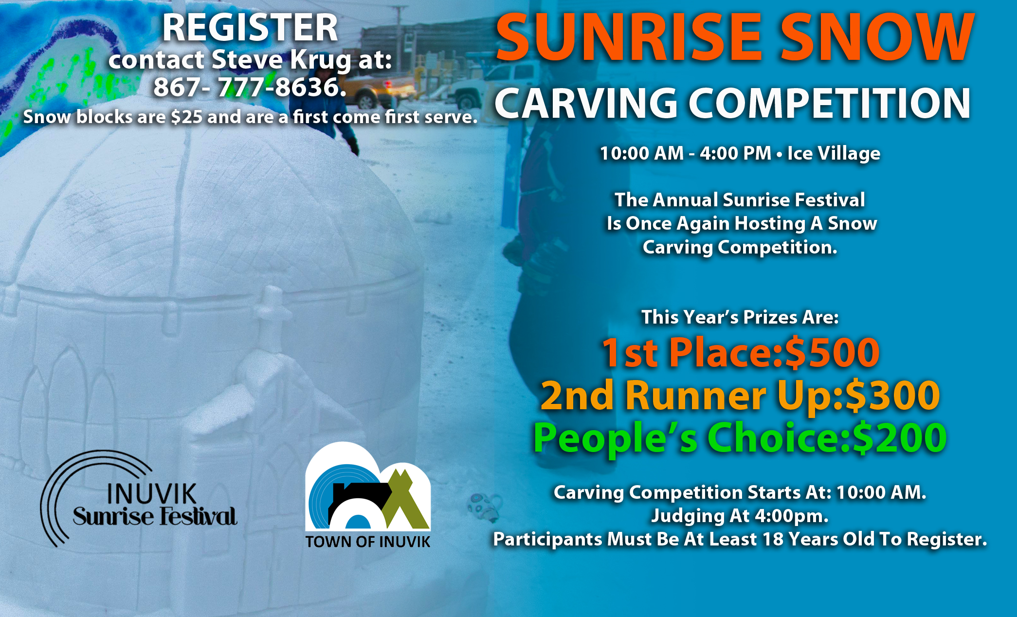 SUNRISE SNOW CARVING COMPETITION - ENTER TODAY!