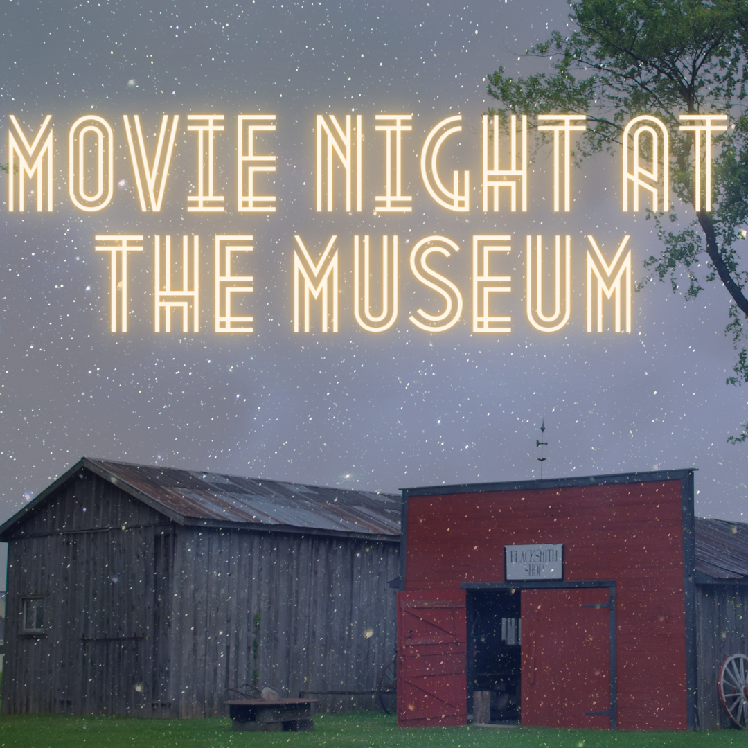 Scugog Museum with star night sky background title movie night at the museum