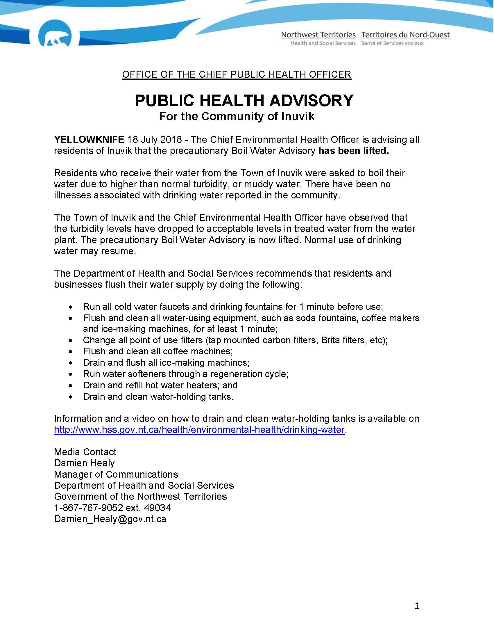 Precautionary Boil Water Advisory has been lifted