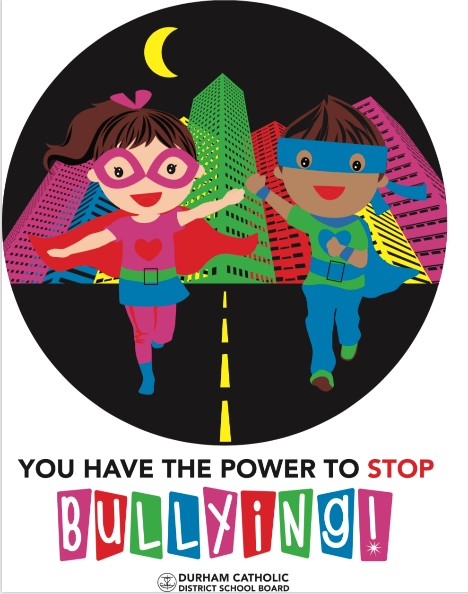 Cartoon image of female and male superheros running with title saying You have the Power to Stop Bullying