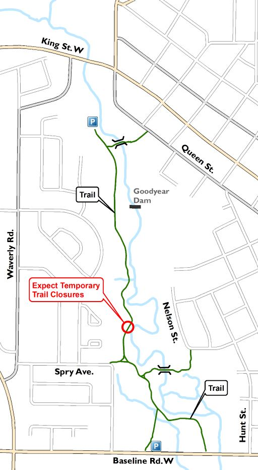 Bowmanville Valley Creek Trail Closure Map