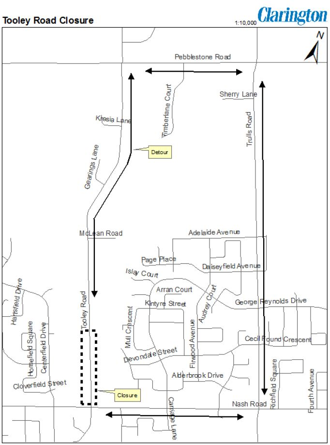 Tooley Road Closure Map