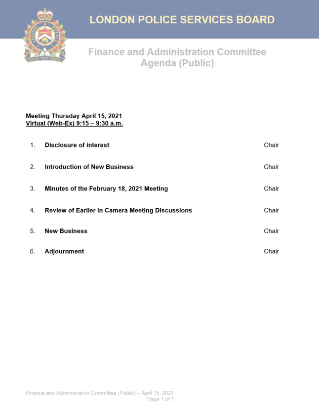 This is an image of the public meeting agenda