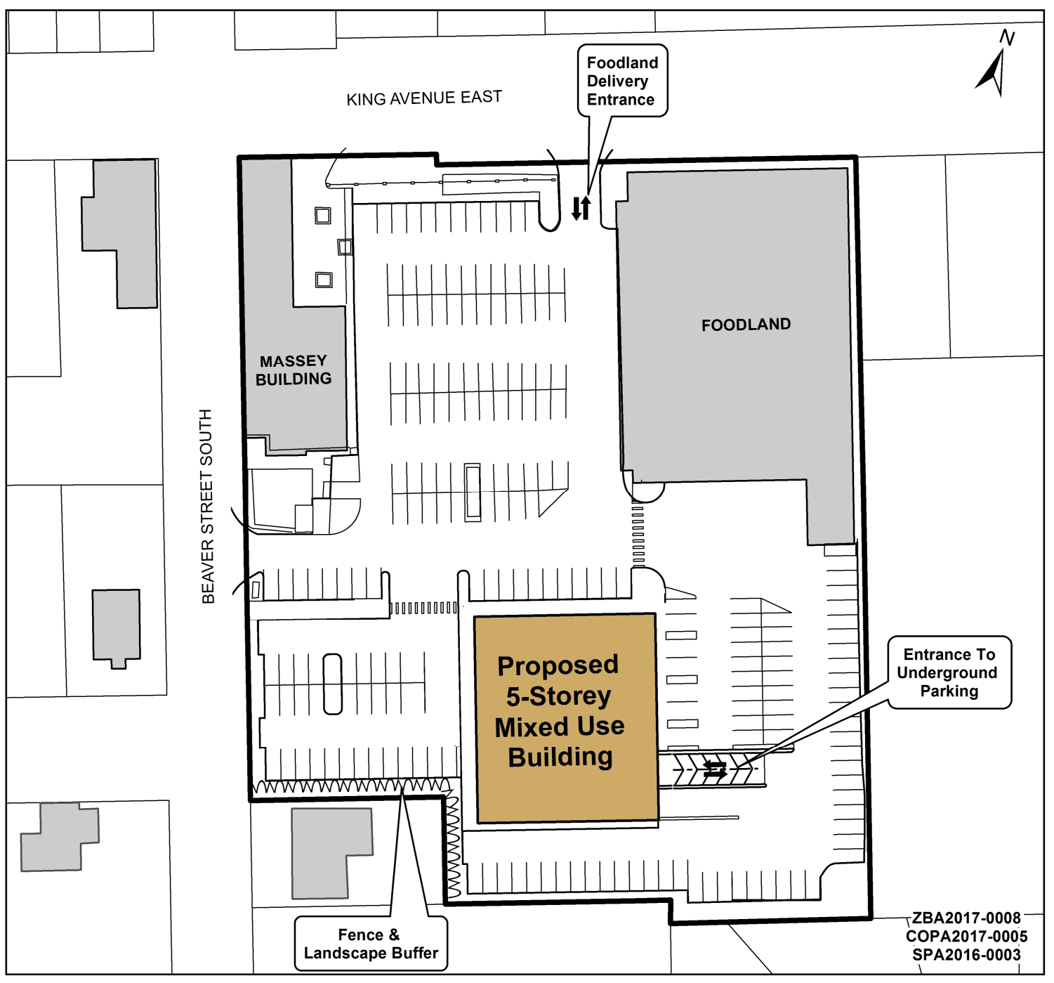 Key map showing location of five-storey, mixed-use building