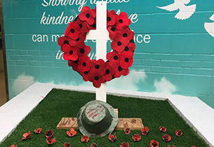 Wreath made out of paper poppies
