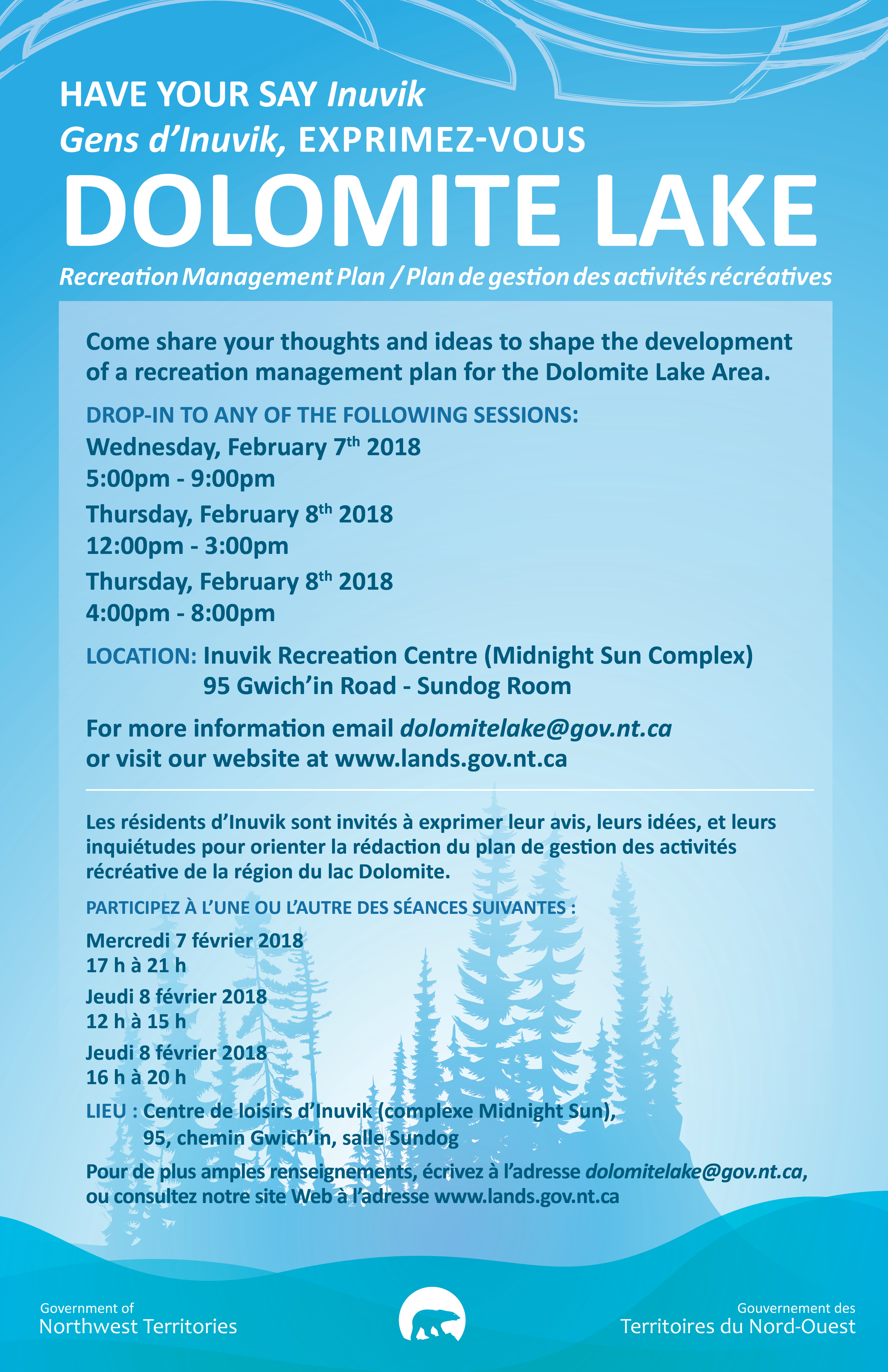 Dolomite Lake Recreation Management Plan Sessions Feb 7th & 8th 2018