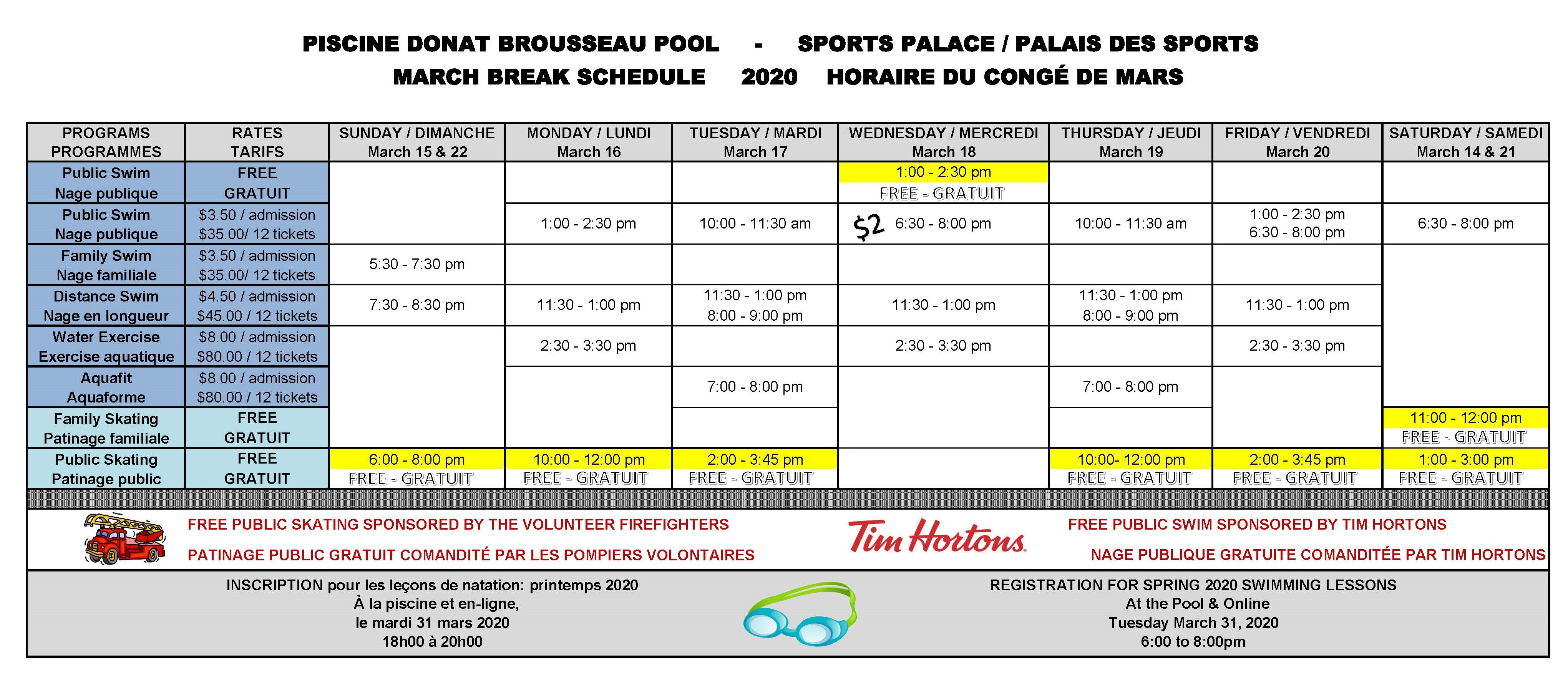 March Break Schedule 2020