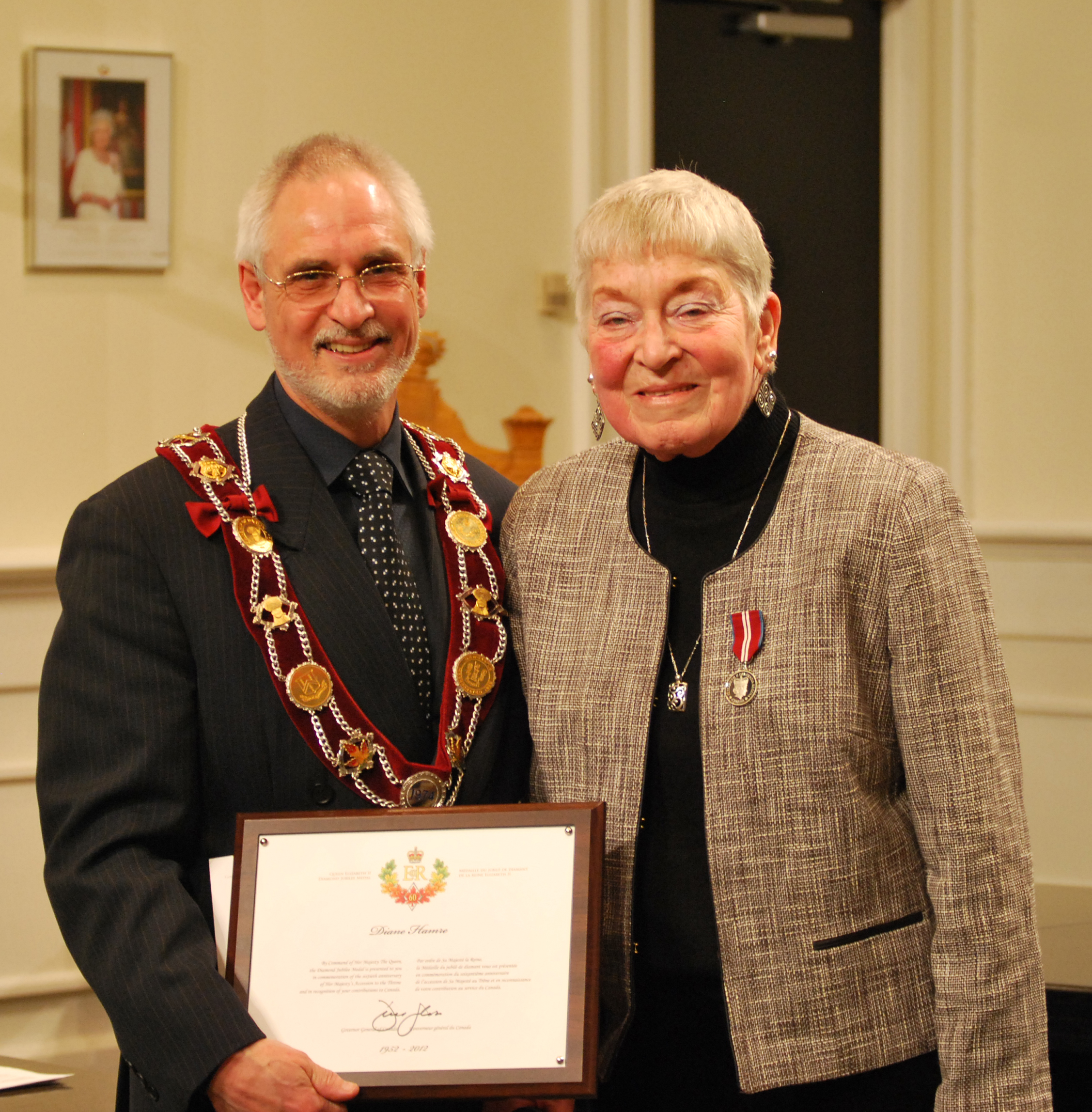 Former Clarington Mayor Diane Hamre stands with Mayor Adrian Foster
