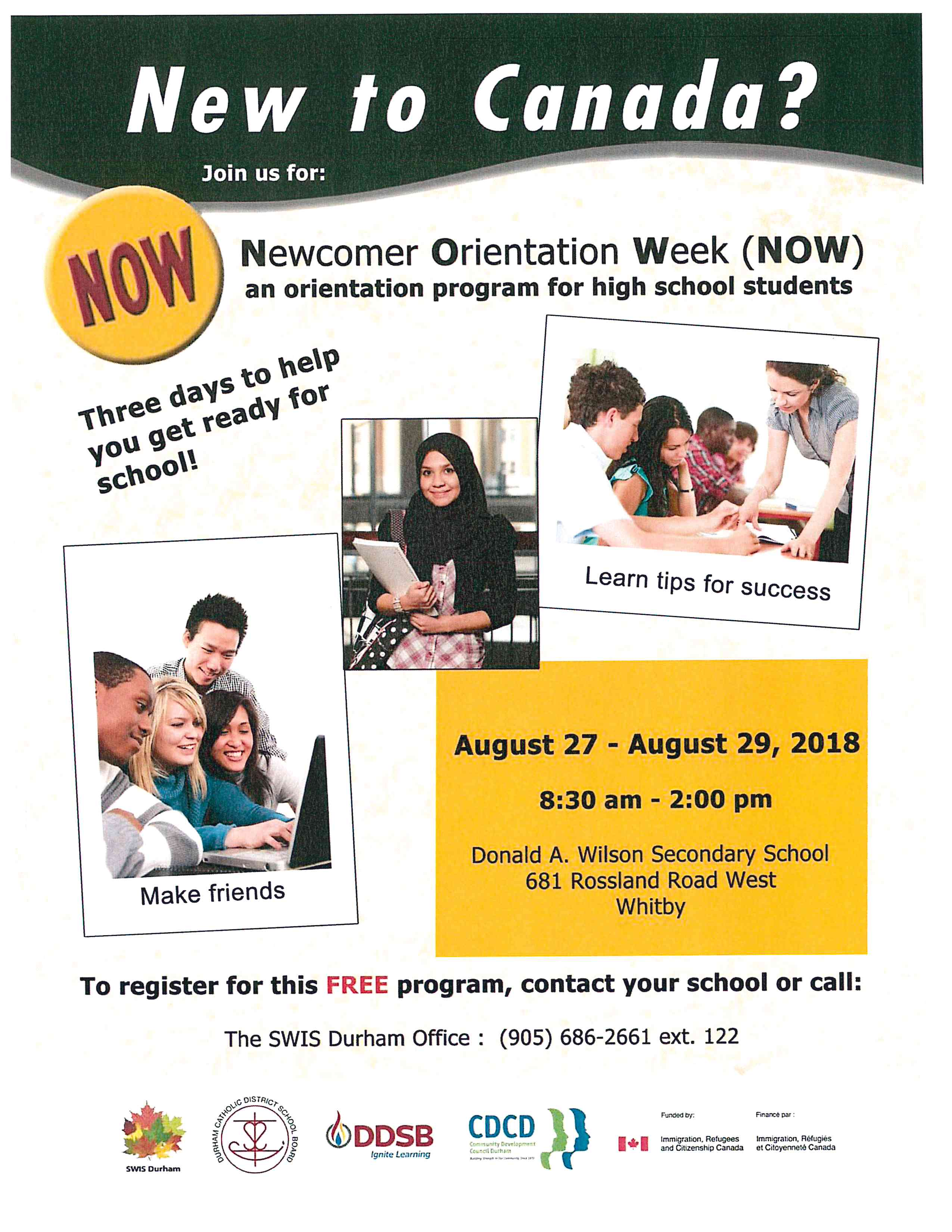 Flyer promoting Newcomer Orientation Week for high school students