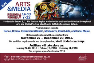Ad promoting the dates for online applications to the Regional Arts & Media Program and Audition dates.