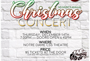 Flyer promoting date and time and cost of school's Christmas concert