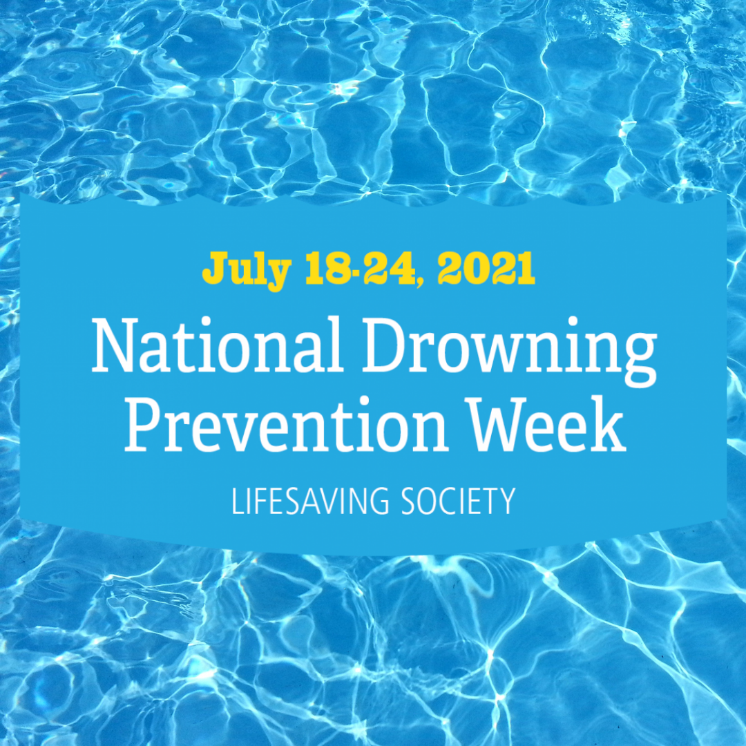 Pool background with National Drowning Prevention Week Logo