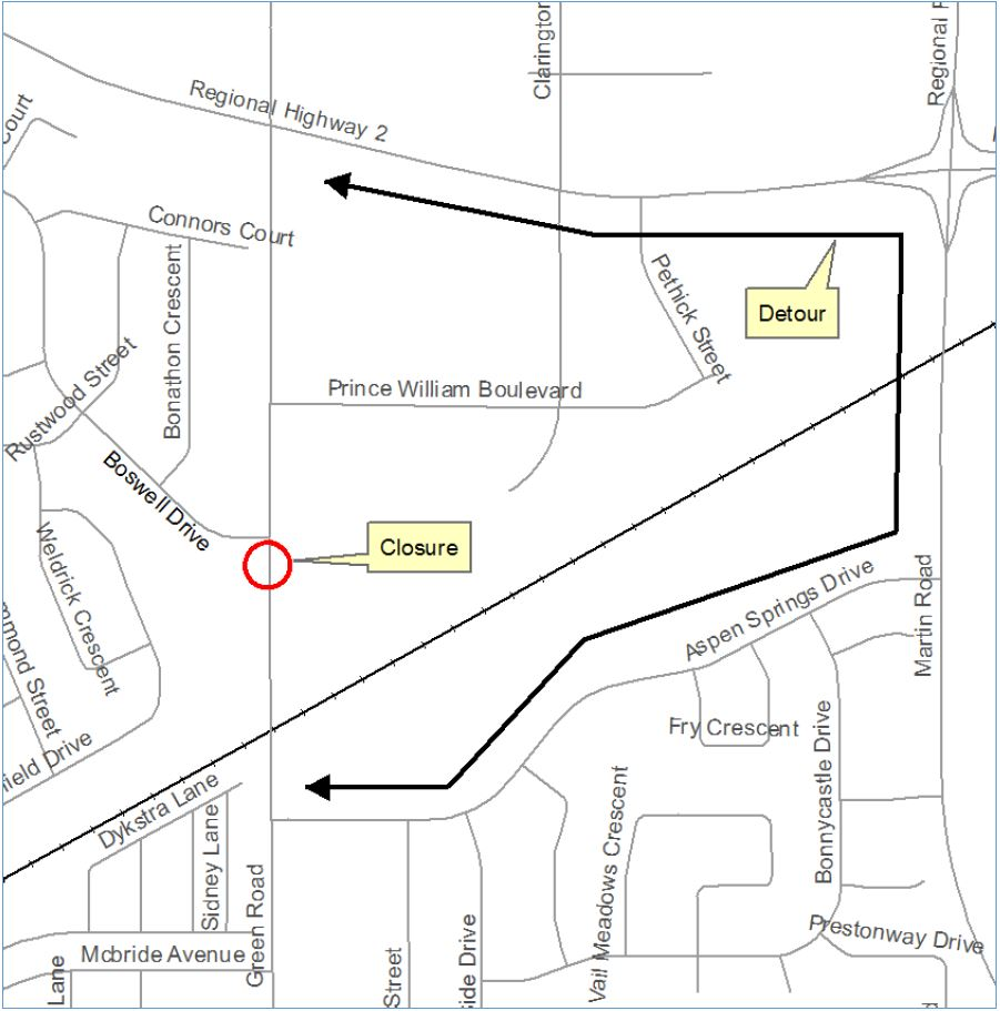 Map showing location of road closure and detour