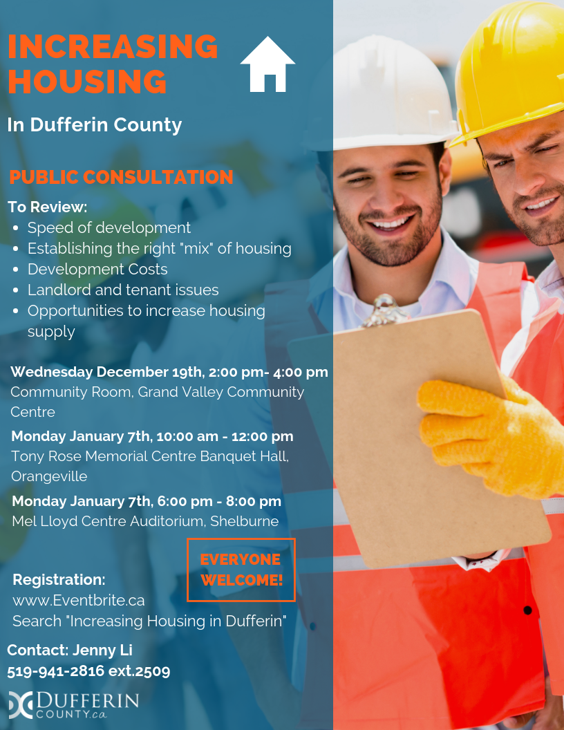County of Dufferin Poster - Housing Supply Consultations